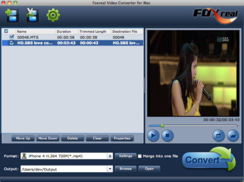 Foxreal Video Converter for Mac Screenshot