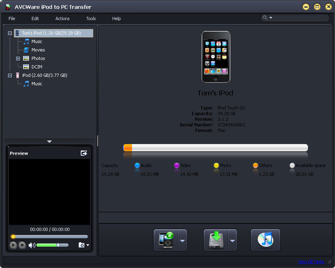AVCWare iPod to PC Transfer Screenshot