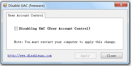 Disable UAC Screenshot