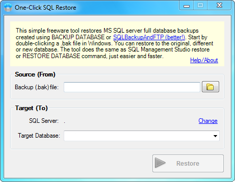 One-Click SQL Restore Screenshot