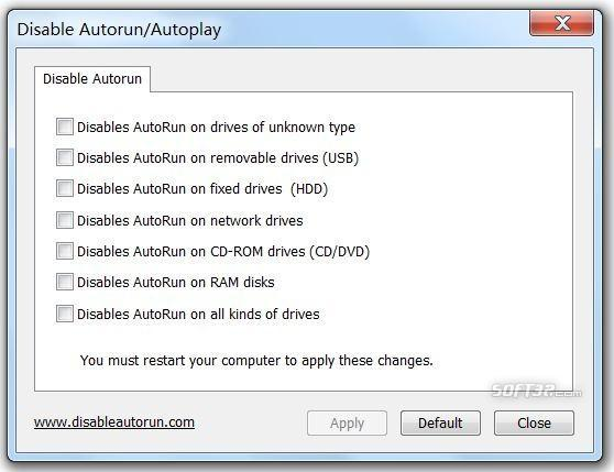 Disable Autorun/Autoplay Screenshot 2