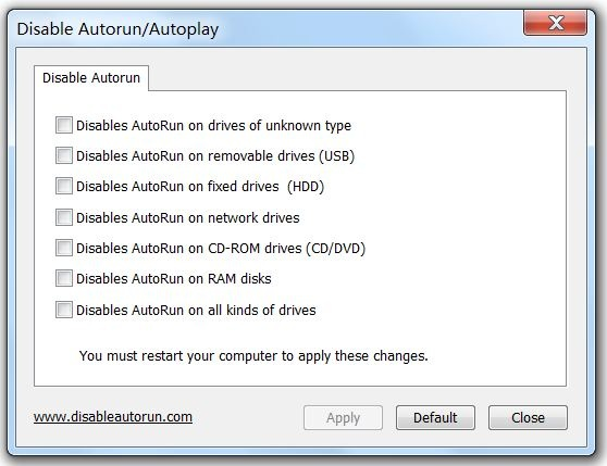 Disable Autorun/Autoplay Screenshot