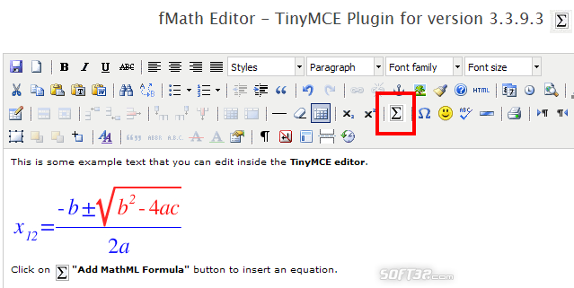 fMath Editor - TinyMCE Plugin Screenshot 3