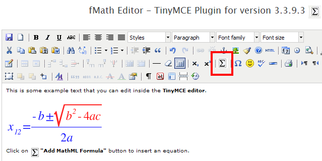 fMath Editor - TinyMCE Plugin Screenshot
