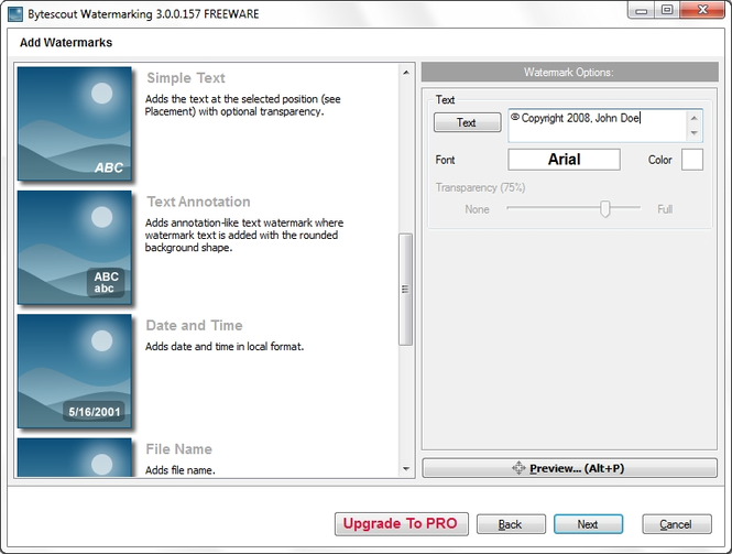 Bytescout Watermarking Freeware Screenshot
