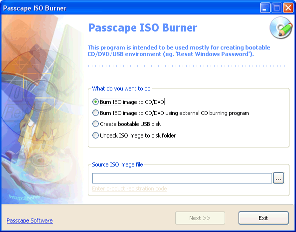 Passcape ISO Burner Screenshot 1