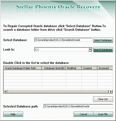 Stellar Phoenix Oracle Database Recovery Screenshot 1