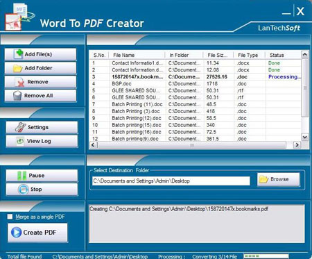 Word To PDF Creator Screenshot 1