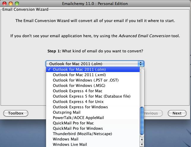 Emailchemy for Windows Screenshot 1