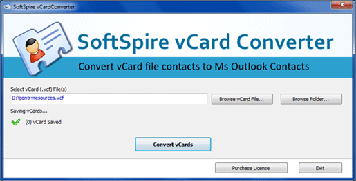 vCard to Outlook Converter Screenshot
