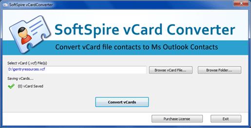 vCard to Outlook Converter Screenshot 1