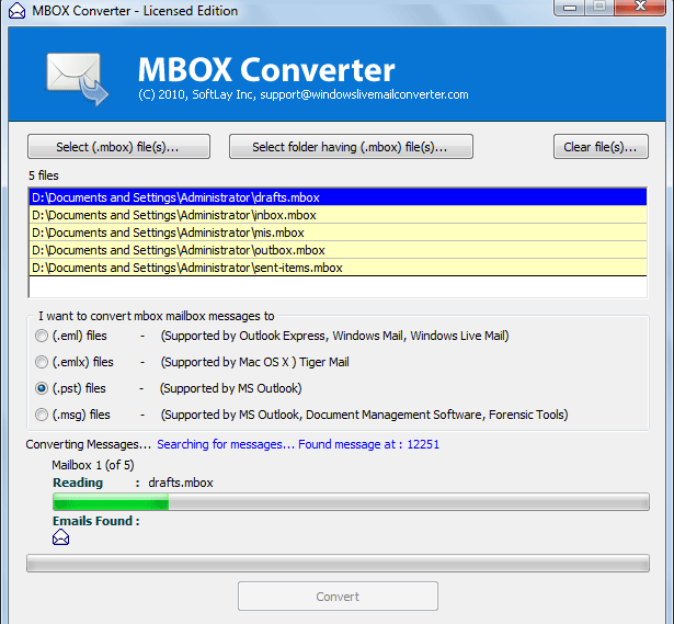 MBOX Converter for Windows Screenshot