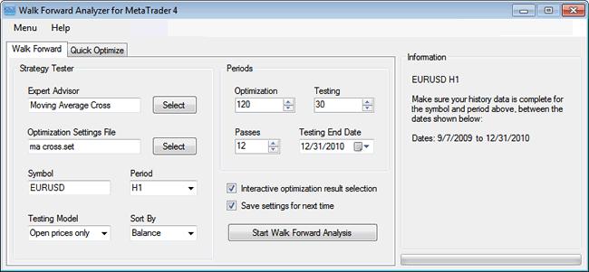 Walk Forward Analyzer for MetaTrader 4 Screenshot