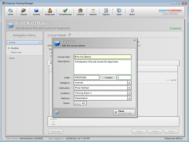 Employee Training Manager (Professional) Screenshot