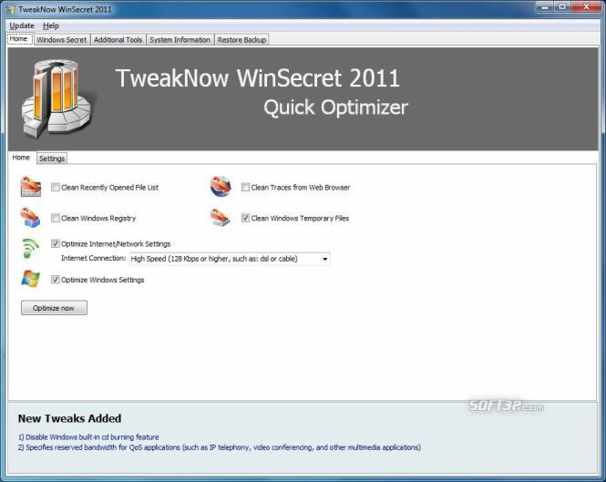 TweakNow WinSecret Screenshot 2