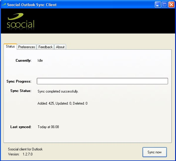 Soocial Outlook Sync Screenshot 1