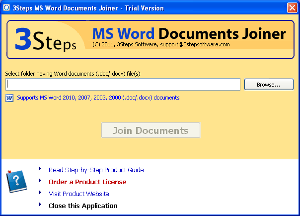 3Steps MS Word Documents Joiner Screenshot
