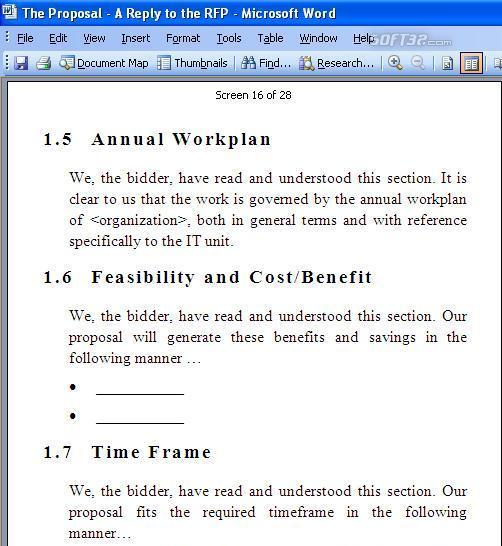 RFP Response Template Screenshot 2