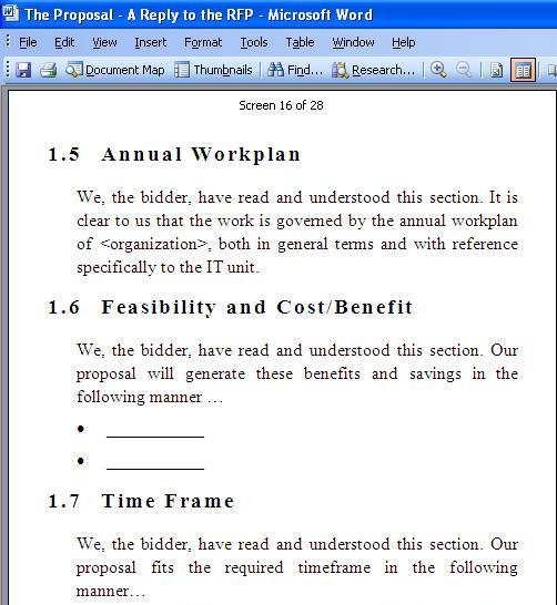 RFP Response Template Screenshot 3