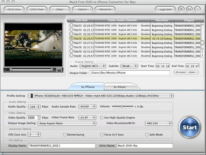 MacX Free DVD to iPhone Converter Mac Screenshot