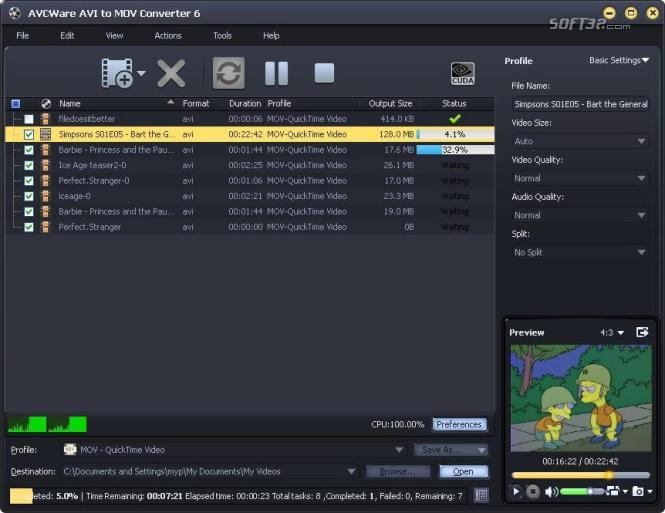 AVCWare AVI to MOV Converter Screenshot 3