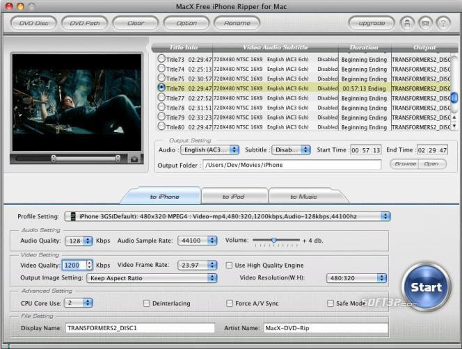 MacX Free iPhone Ripper for Mac Screenshot 2