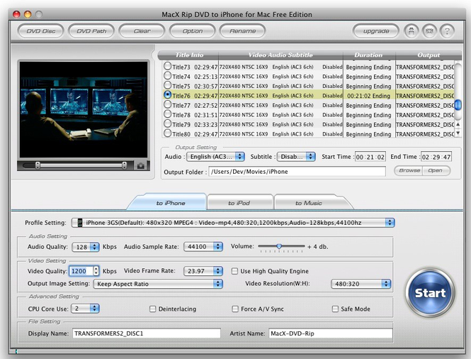 MacX Rip DVD to iPhone for Mac Free Screenshot