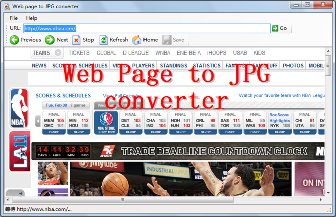 Web Page To JPG Converter Screenshot