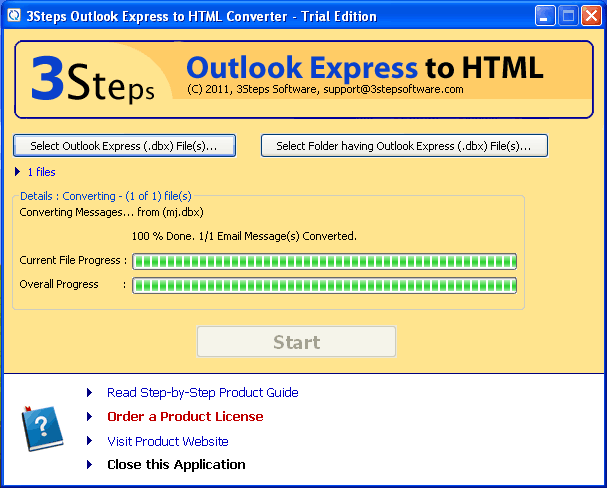 3Steps Outlook Express to HTML Converter Screenshot