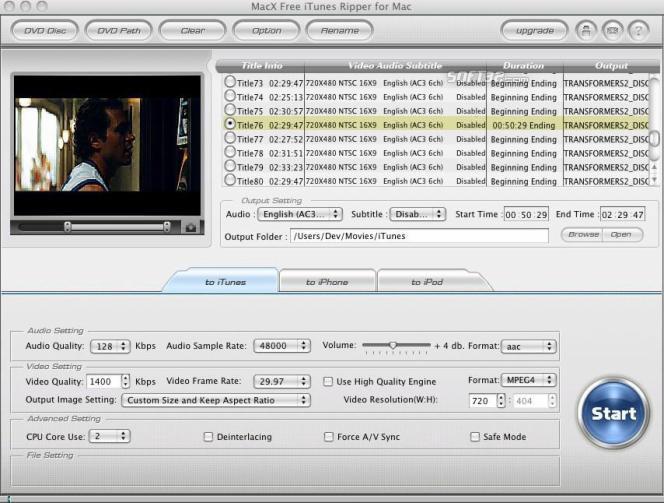 MacX Free iTunes Ripper for Mac Screenshot 2