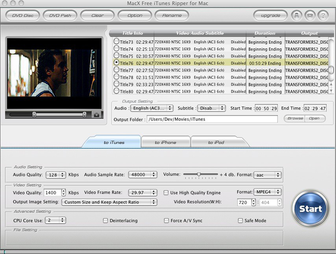 MacX Free iTunes Ripper for Mac Screenshot 1