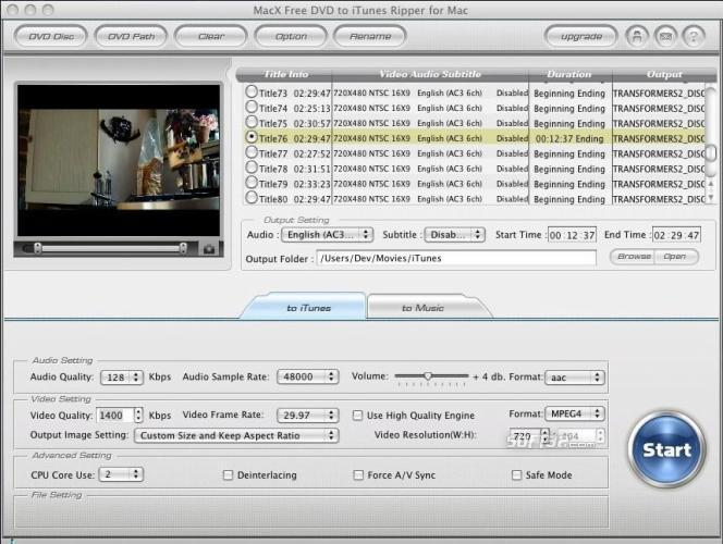 MacX Free DVD to iTunes Ripper for Mac Screenshot 2