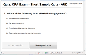 CPA Exam - AUD - Sample Test Screenshot