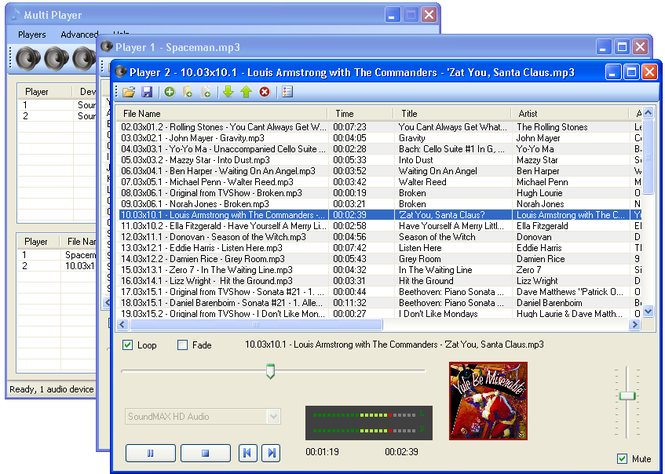 Multi zone audio player Screenshot