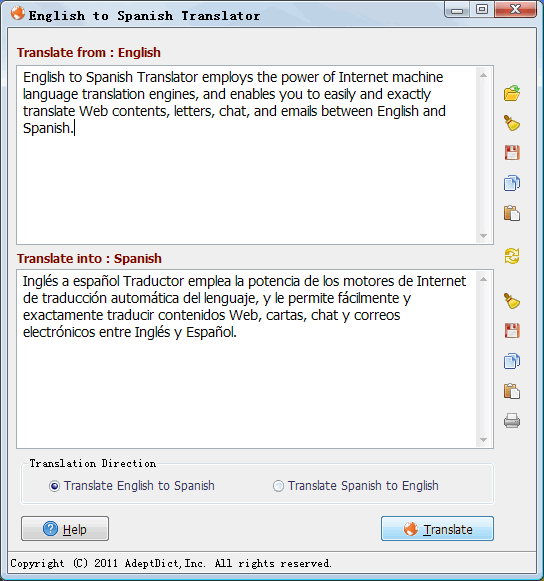 English to Spanish Translator Screenshot