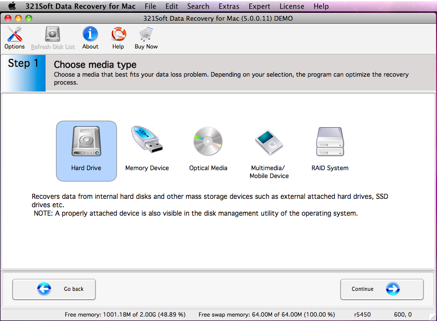 321Soft Data Recovery for Mac Screenshot