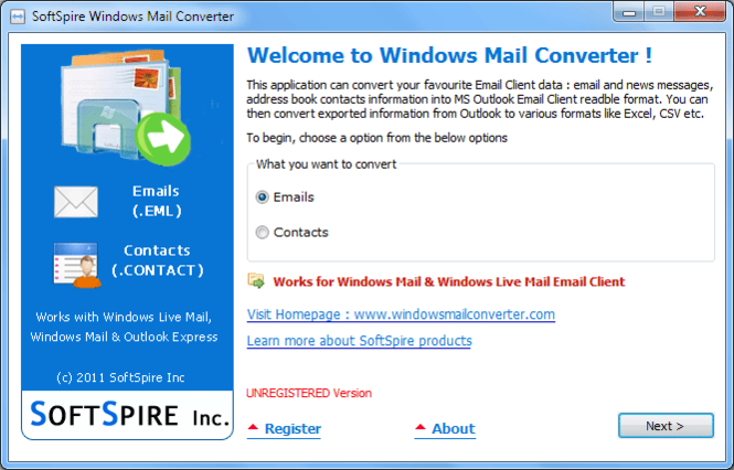 SoftSpire Windows Mail Converter Screenshot