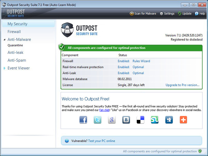 Agnitum Outpost Security Suite Free (64-bit) Screenshot 1