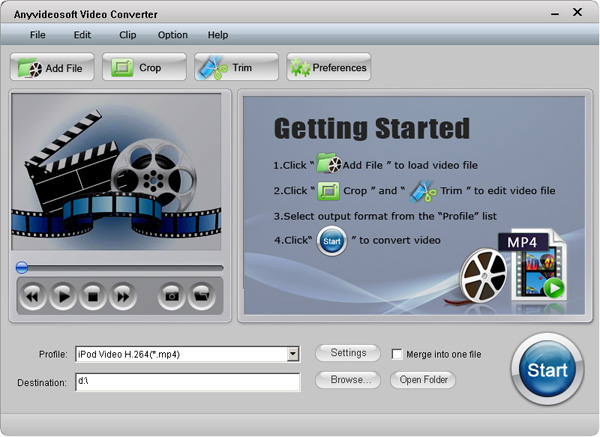 Anyvideosoft Video Converter Screenshot