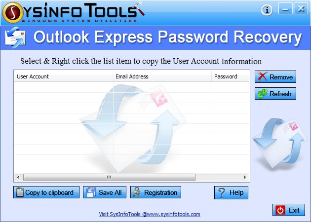 SysInfoTools Outlook Express Password Recovery Screenshot