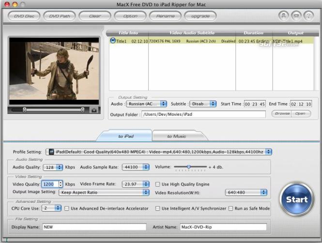 MacX Free DVD to iPad Ripper for Mac Screenshot 2