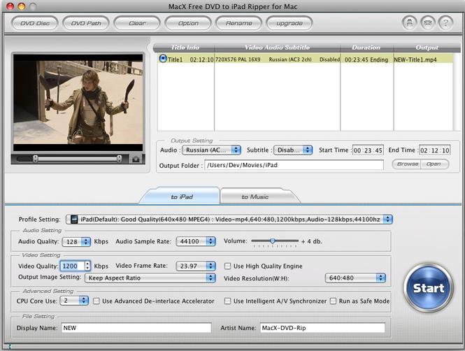 MacX Free DVD to iPad Ripper for Mac Screenshot