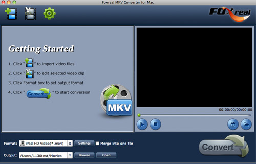 Foxreal MKV Converter for Mac Screenshot