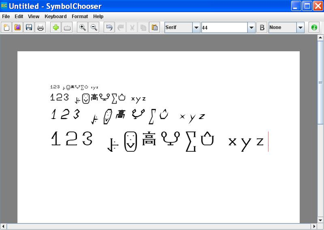 SymbolChooser Screenshot 2