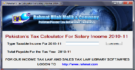 Pakistan's Tax Calculator 2010-11 Screenshot