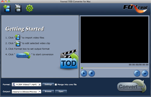 Foxreal TOD Converter for Mac Screenshot
