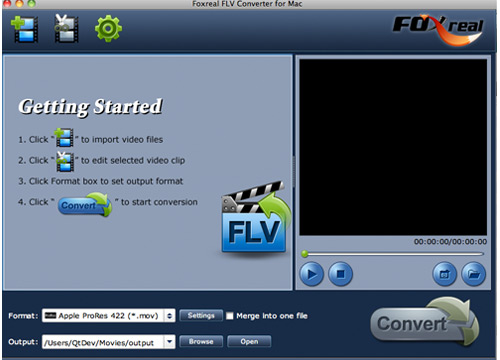 Foxreal FLV Converter for Mac Screenshot 1