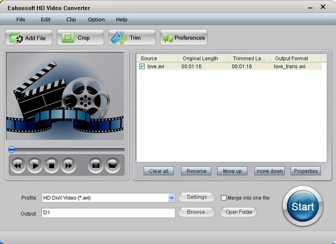 Eahoosoft HD Video Converter Screenshot 1