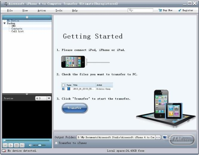 Aiseesoft iPhone 4 to PC Transfer Pro Screenshot 3