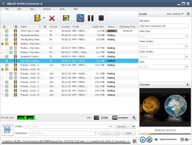 Xilisoft RMVB Converter Screenshot
